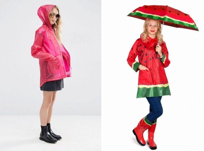 женский дождевик и резиновые сапоги
