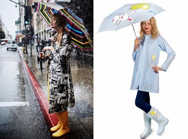 женский дождевик и резиновые сапоги 2017 год
