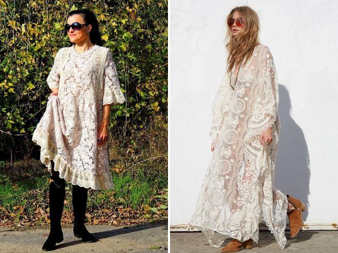 кружевное платье бохо