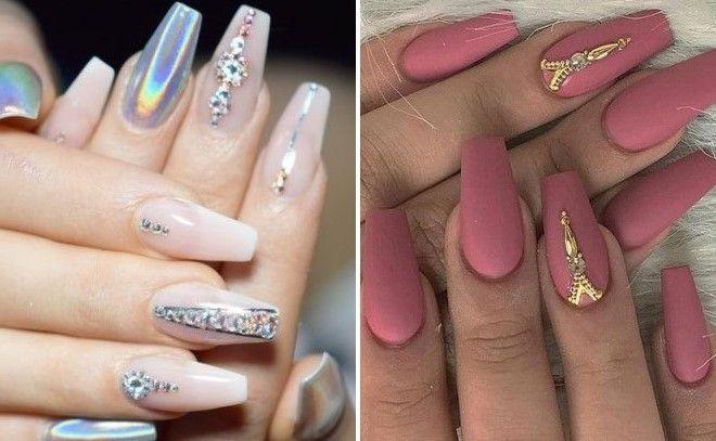 Ногти балерина с блестками