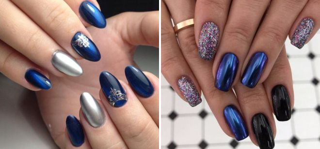 Стильный синий дизайн ногтей – с белым, золотом стразами ...
