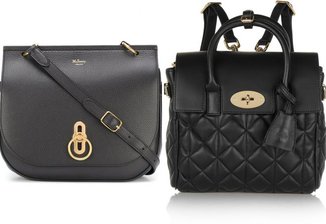 черная кожаная сумка Mulberry