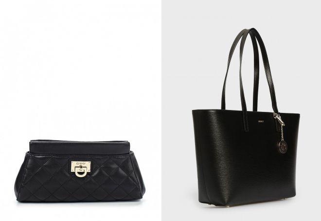 черная кожаная сумка DKNY
