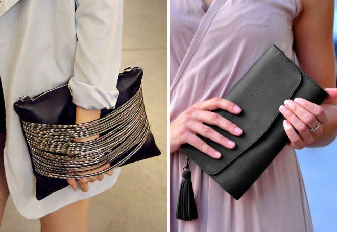کیسه چرم سیاه و سفید شیک