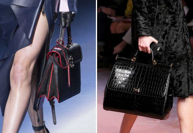 کیف چرم سیاه و سفید با دسته های کوتاه