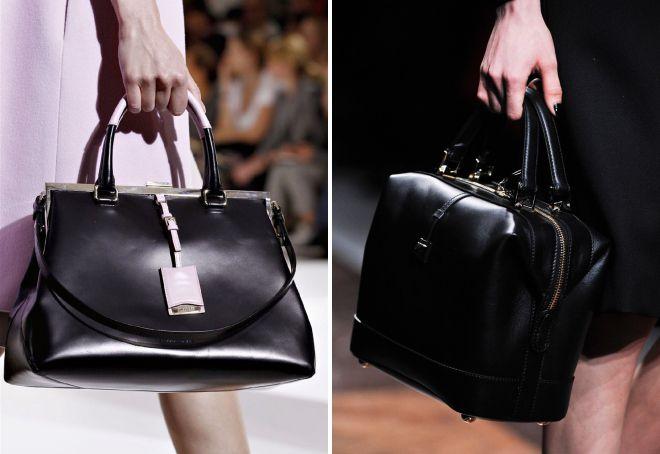 کیف چرم سیاه و سفید با دستگیره