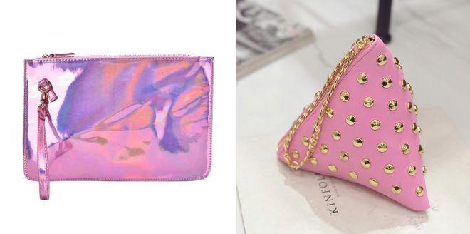 розовый модный клатч