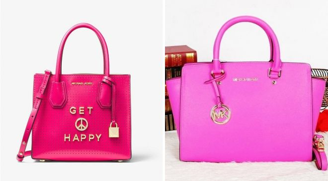 большая розовая сумка michael kors