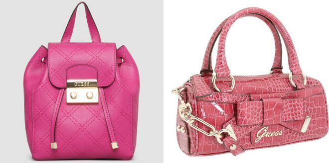 ярко розовая сумка guess