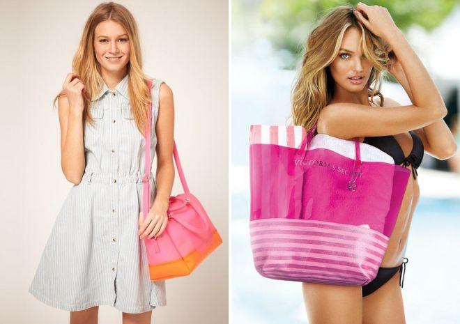 пляжная сумка розовая