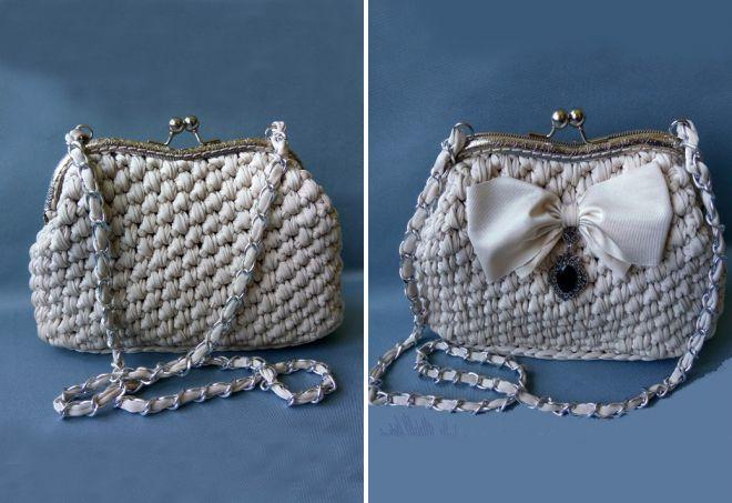 sac tricoté avec fermoir