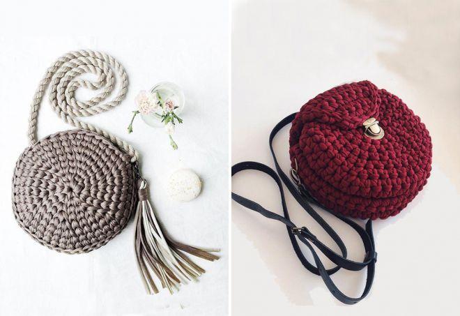 sac rond tricoté