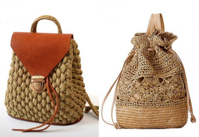 вязаные сумки рюкзаки
