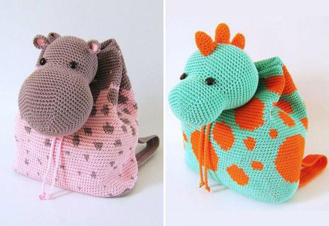 sacs tricotés en fils tricotés