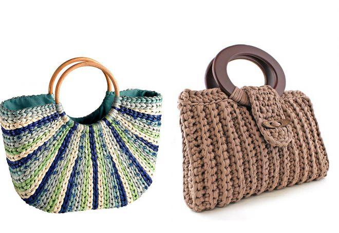 sac tricoté avec poignées en bois