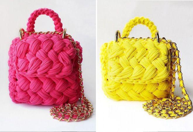 розовая вязаная сумка