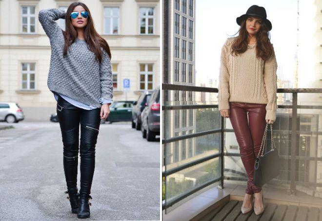 кожаные лосины и свитер