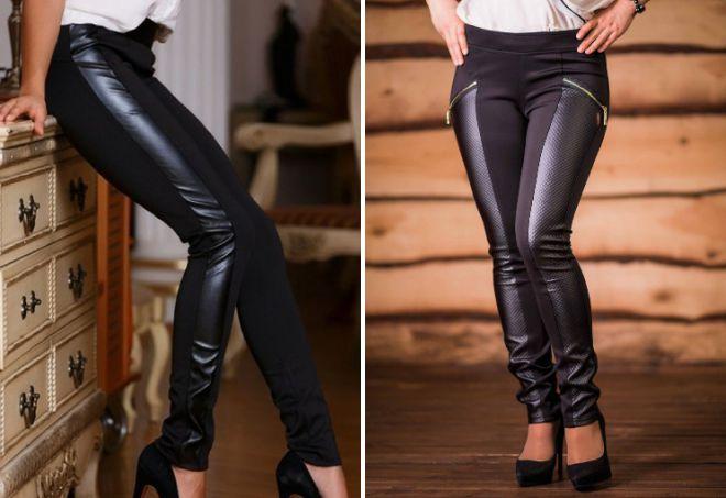 черные кожаные лосины