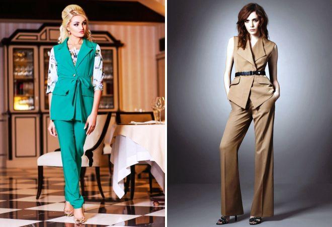 женский костюм жилетка и брюки
