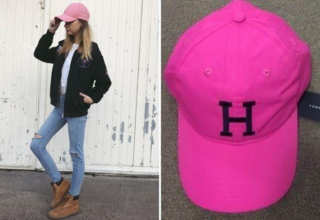 розовая кепка томми хилфигер