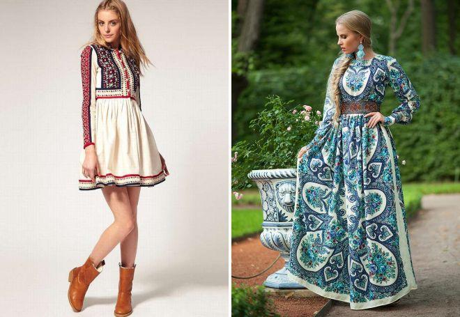 платья в русском стиле из штапеля