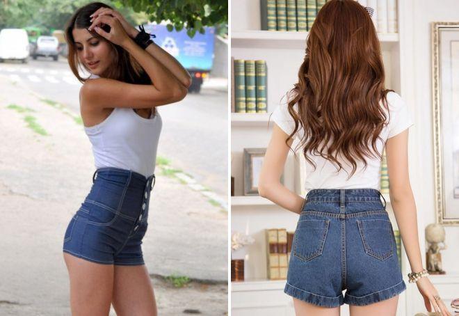 женские короткие джинсовые шорты с высокой талией