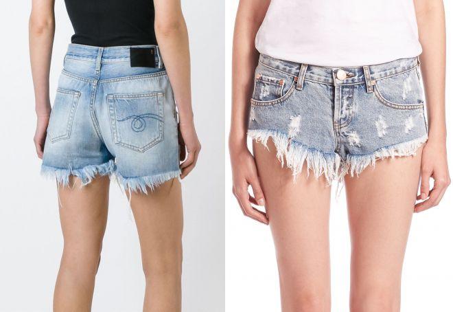 короткие джинсовые шорты с бахромой