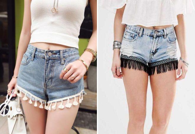 стильные короткие джинсовые шорты