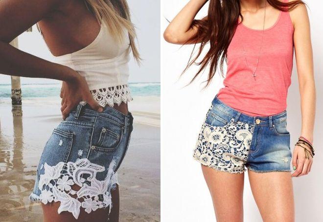 короткие джинсовые шорты с кружевом