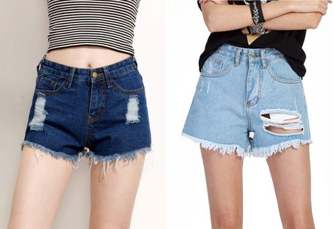 короткие джинсовые шорты с дырками