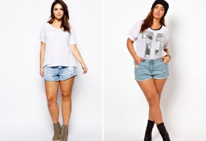 короткие джинсовые шорты для полных