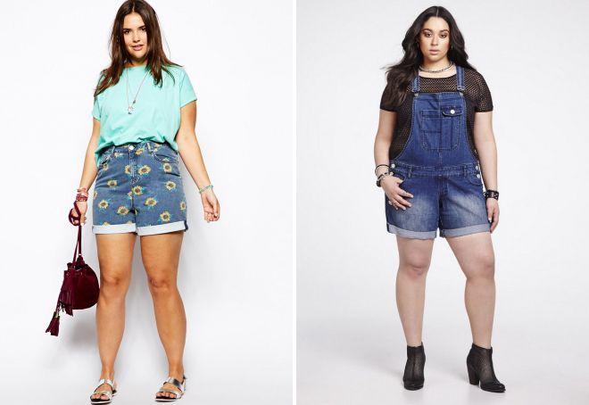 короткие джинсовые шорты на полных девушках