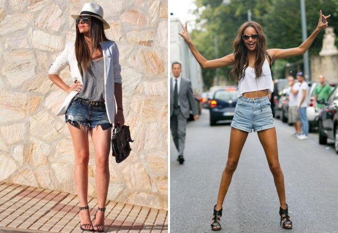 с чем носить короткие джинсовые шорты