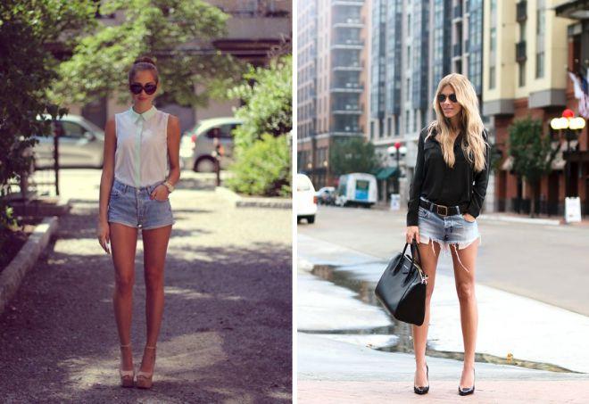 обувь к коротким джинсовым шортам