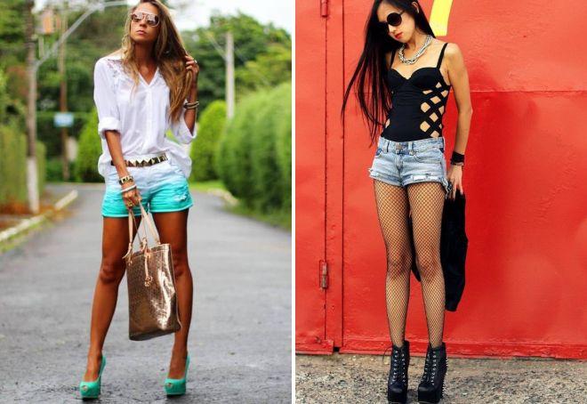 модные короткие джинсовые шорты