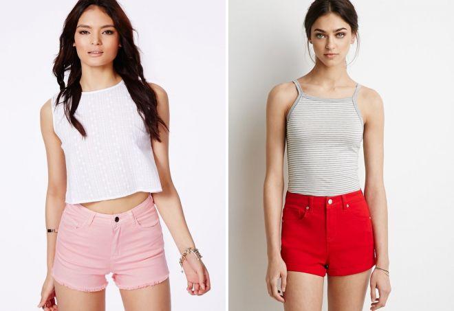 модный лук с короткими джинсовыми шортами
