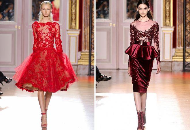 красные короткие вечерние платья