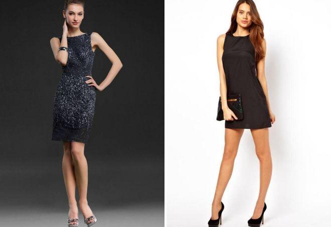черное короткое вечернее платье