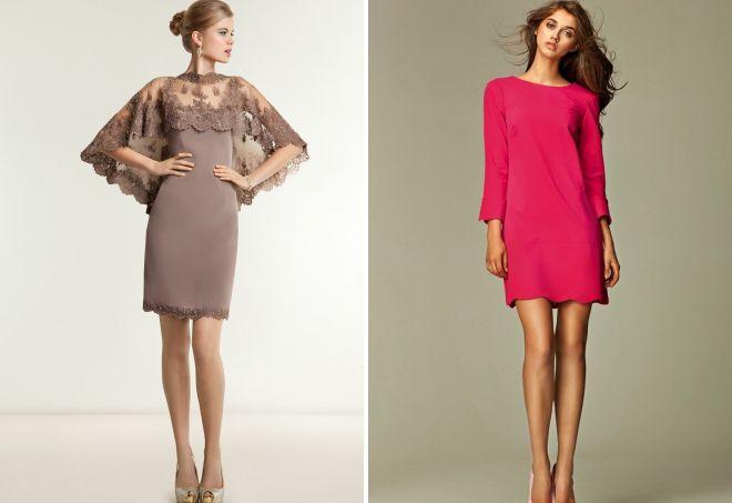 короткие прямые вечерние платья
