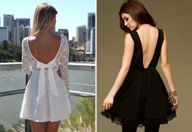 короткие вечерние платья с открытой спиной