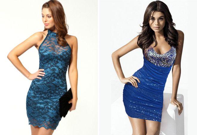 синее короткое вечернее платье