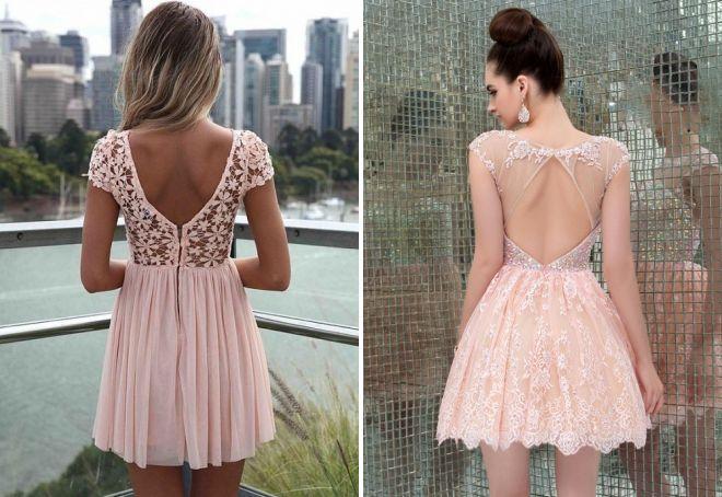 кружевное короткое розовое платье