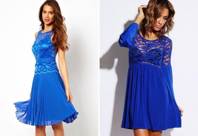 короткое кружевное синее платье