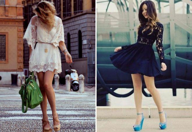с чем носить короткое кружевное платье