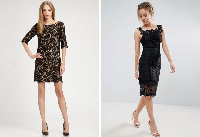 черное короткое кружевное платье