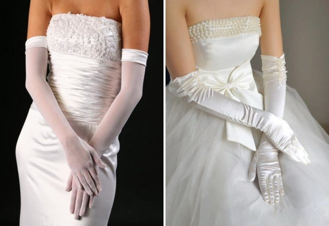 Wäiss langen Handschuhen