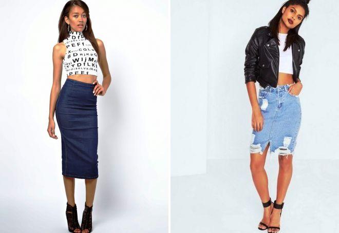 джинсовая юбка карандаш и кроп топ