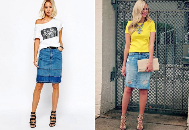 джинсовая юбка карандаш с футболкой