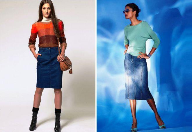 джинсовая юбка карандаш и свитер