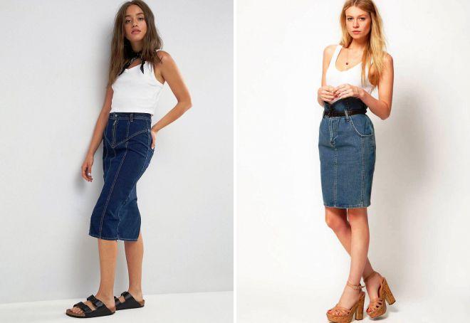 джинсовая юбка карандаш с завышенной талией